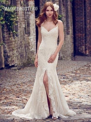 Maggie Sottero Calista 8MC485 spaghetti strap wedding dress