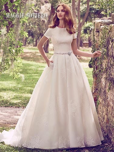 Maggie Sottero Dylan Marie 8MW483 Short Sleeve Wedding Dress