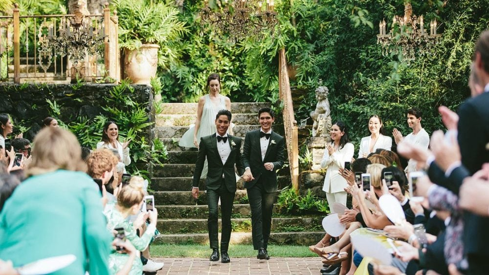 00 social image ross matsubara and noa santos home polish wedding 1000x563 - Inside a Greenery-Filled Hawaiian Wedding Event-- Where the Bridesmaids Wore Power Fits